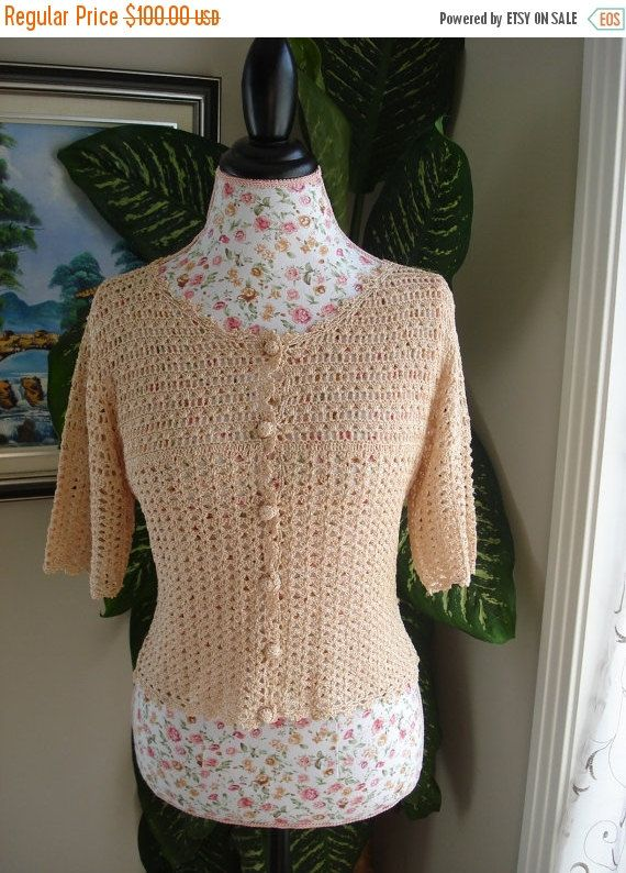 Handmade Crochet Lace Peach top, crochet blouse in Small size // Ready to be shipped TODAY by ufer on Etsy