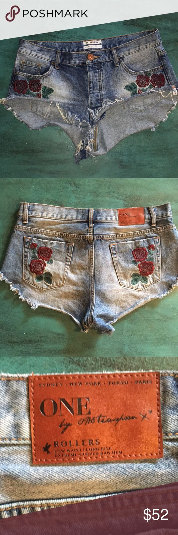 One teaspoon rollers sz 29 Used twice. Too big for me. Size 29 but more of a 30. Larger fit. Low waist l, long rise extreme curved raw hem. Bought from revolve for 88$ cute rose detail One Teaspoon Shorts Jean Shorts