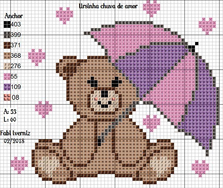 Ursinha chuva de amor ponto cruz