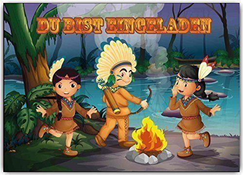 Einladungskarten Kindergeburtstag Indianer Indianerparty Indianer-feier (8 Stück) Set Abenteuer Cowboy Jungen Mädchen
