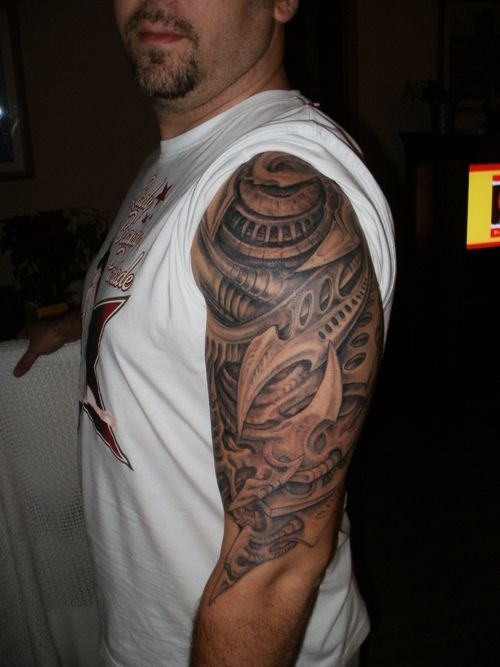 Biomechanic upper arm tattoo – Tattoo Picture at CheckoutMyInk.com