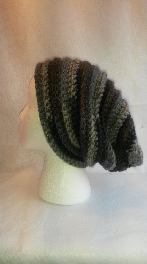 Blue and Grey Crocheted Slouchy Beanie Hat by TheCrochetAnything