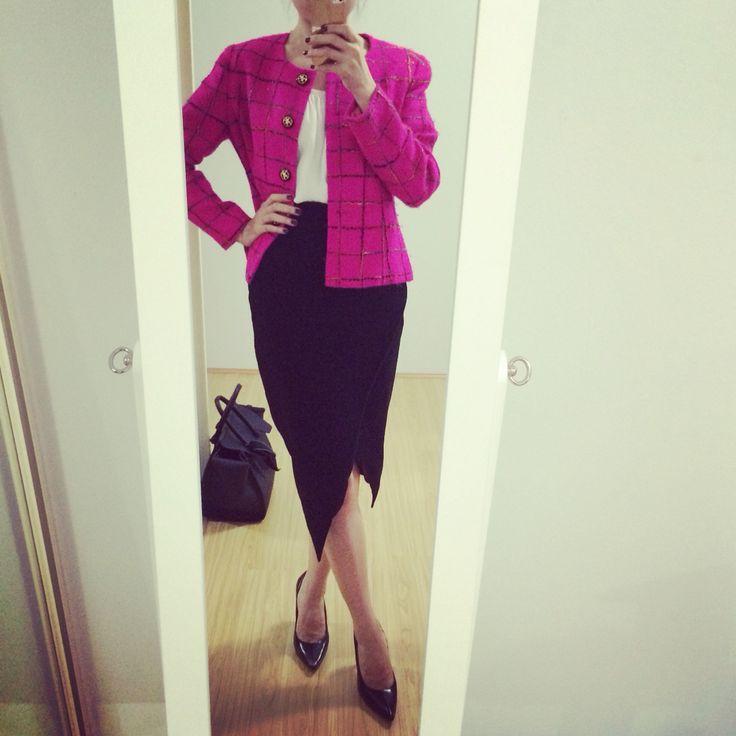 Hot pink tweed jacket + front split skirt