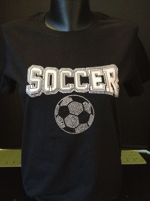 Show your pride and help cheer for your favorite team with a Soccer Bling and Silver Lettering Shirt. This Soccer image is approximately 6 x 8.