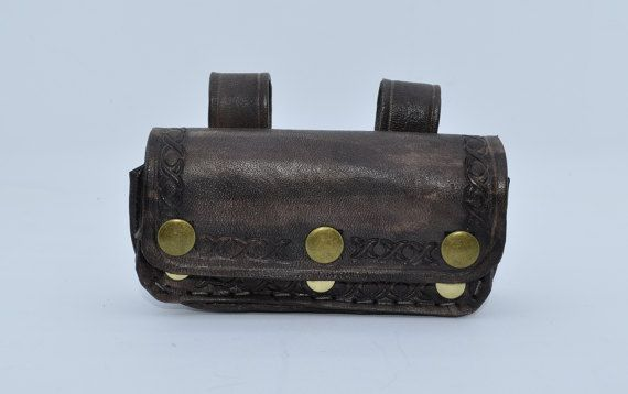 Cellphone belt purse, wallet in a steampunk style. Made from leather