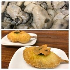 今日ご紹介する串揚げは牡蠣のバジルソース にんにくチップ添えです 食べる前からアンチョビとバジルで作られたバジルソースと素揚げにした青森県産のにんにくの良い香りが食欲をそそります 口に入れると牡蠣のエキスとバジルソースサクッとしたにんにくチップが一気に口の中で混ざり合い牡蠣好きにはたまらない一品です_ 寒くなると身が締まって美味しさが増す牡蠣 今回は広島産の牡蠣を使用しています ポン酢やマヨネーズで食べる定番の牡蠣フライも良いですが是非自家製バジルソースでお楽しみ下さい  #串cafeたまねぎ #串揚げ #創作串揚げ #熱々 #福岡市 #西区 #愛宕 #月替わりメニュー #旬の素材 #牡蠣 #自家製バジルソース #にんにくチップ tags[福岡県]