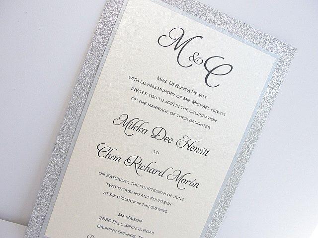 Glitter Invitation, Wedding Invitation, Elegant Wedding Invitation, Rustic Wedding Invitation, Vintage Wedding Invitation, Silver Invite UMA by LavenderPaperie1 on Etsy https://www.etsy.com/listing/195633182/glitter-invitation-wedding-invitation