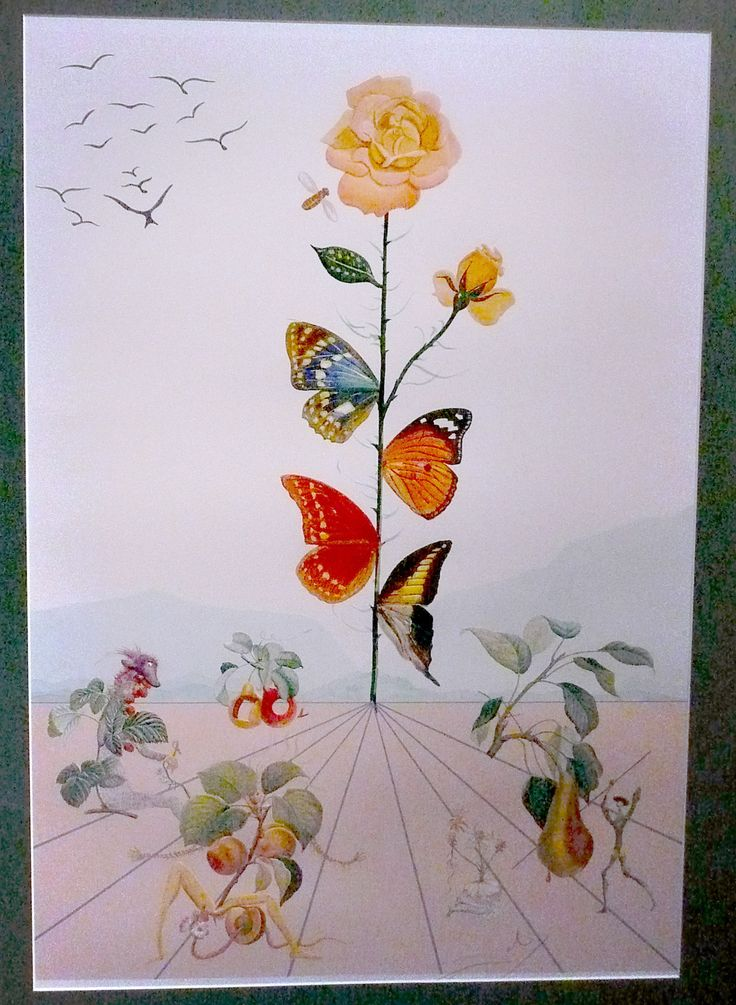 Salvador Dali - Rose with Butterflies | art saved my soul ...