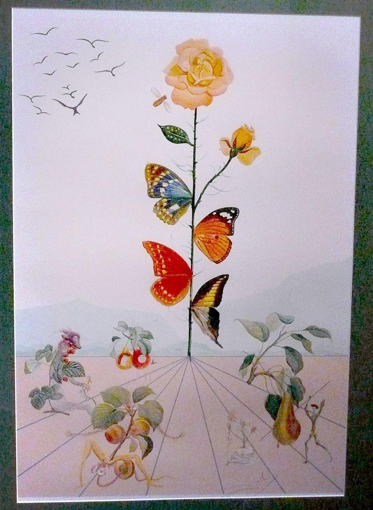Salvador Dali Rose With Butterflies Salvador Dali Art
