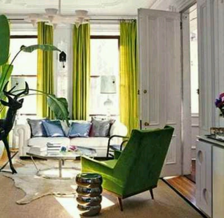 Like the neutral walls with chartreuse on chair and drapes.  Pop of color but simple and not overwhelming