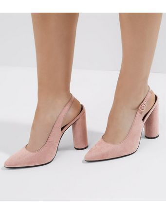Wide Fit Pink Suedette Sling Back Court Shoes   New Look