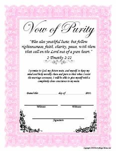 Girls vow of purity certificate.