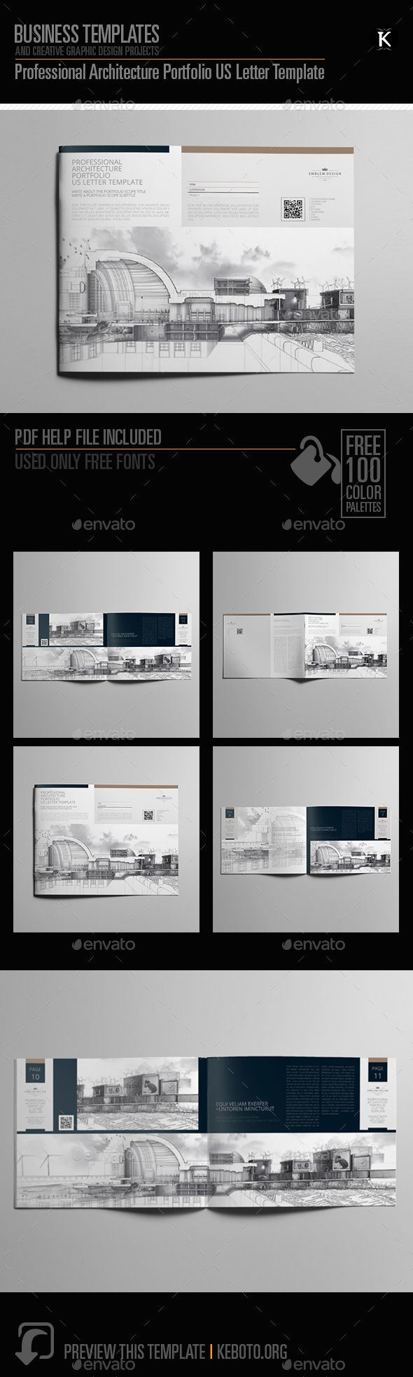 Professional Architecture Portfolio Brochure US Letter Template InDesign INDD