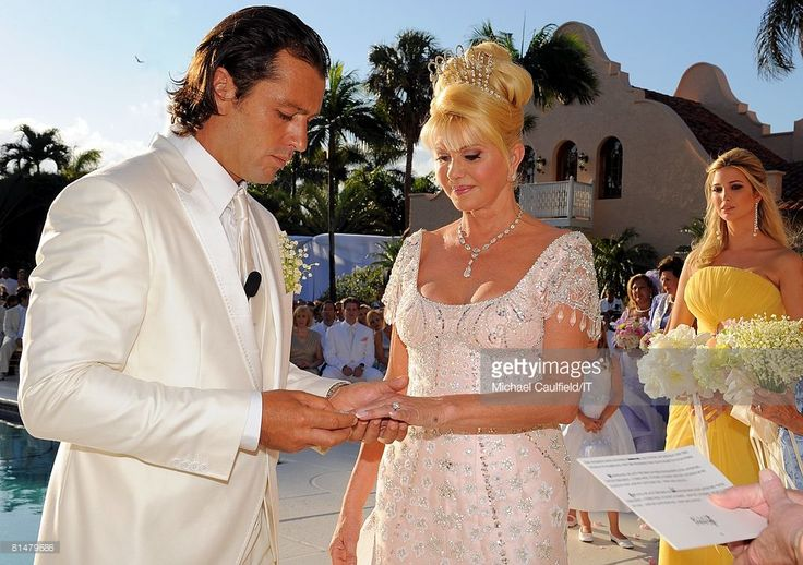 Rossano Rubicondi, Ivana Trump and Ivanka Trump during the wedding of Ivana Trump and Rossano Rubicondi at the Mar-a-Lago Club on April 12, 2008 in Palm Beach, Florida. Ivana Trumps jewelry is by Leviev, a diamond bracelet, earrings and necklace totaling 150 carats. Her hair is by Clifford and her make-up by Pablo Rodriguez. Grooms Attire: Dolce & Gabbana. Maid of Honor, Ivanka Trump, Dress made by Mark Zunino.