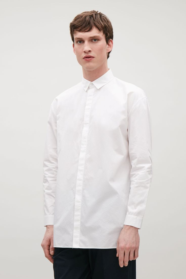 COS image 2 of Drop-shoulder shirt in White