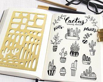 Se adapta a bala revista plantilla, planificación de plantillas, plantillas de dibujo de Cactus - A5 y Midori Regular (Cactus L)