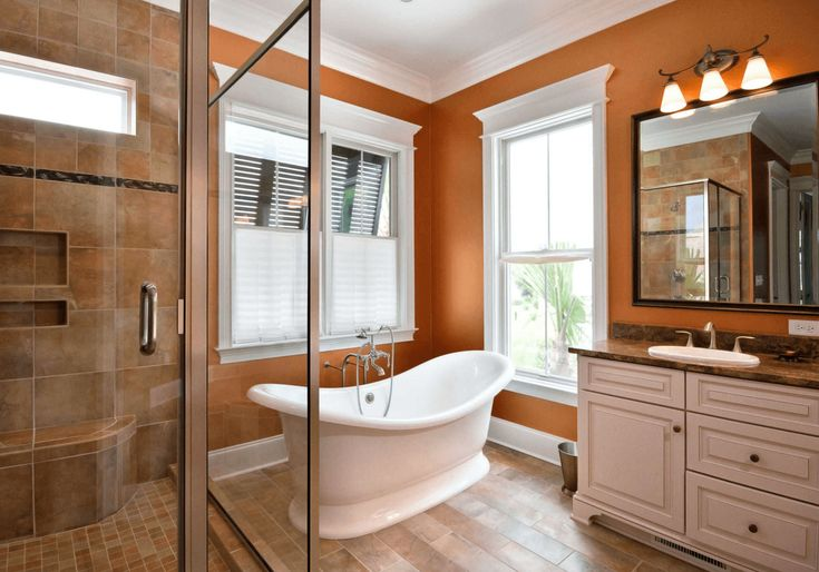 Burnt Orange Traditional Bathroom