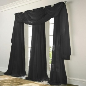 Elegance Voile BLACK Sheer Curtain