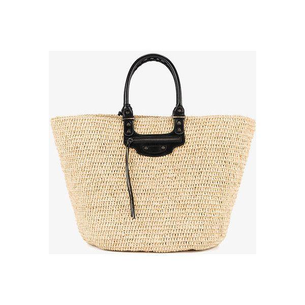 Balenciaga Large Panier Tote Bag ($1,055) ❤ liked on Polyvore featuring bags, handbags, tote bags, balenciaga, balenciaga purse, handbag tote, beige tote handbags and handbags tote bags