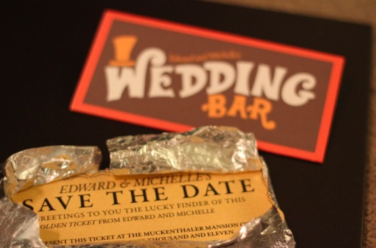 Save the Date cards inspired by your favorite movie. Charlie & the Chocolate Factory inspired Willy Wonka golden tickets by Jillian Seaman.