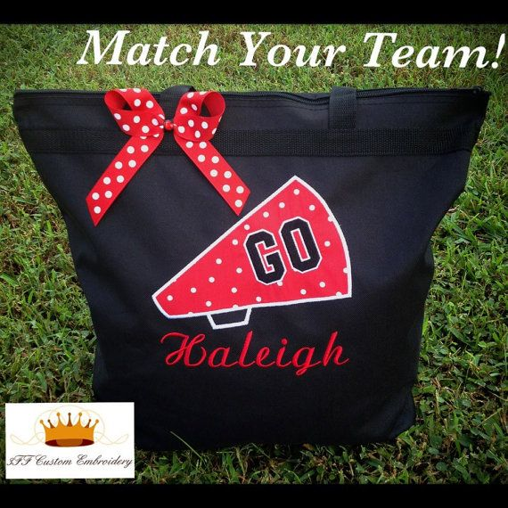 Zippered CHEER Tote Personalized by 3FFCustomEmbroidery on Etsy