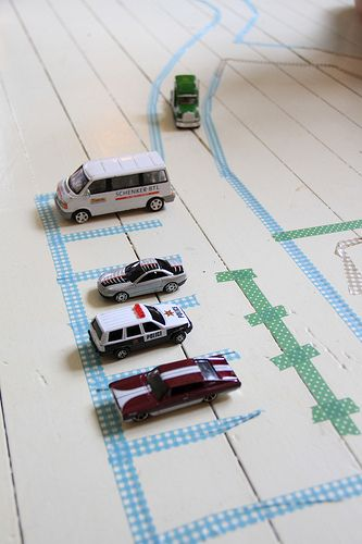 Make your own roads for toy cars - simple fun!