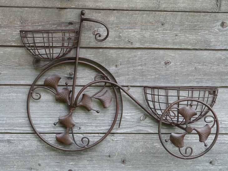 fahrrad blumenregal wandregal blumenst nder blumen k bel blumenkasten eisen m natur. Black Bedroom Furniture Sets. Home Design Ideas