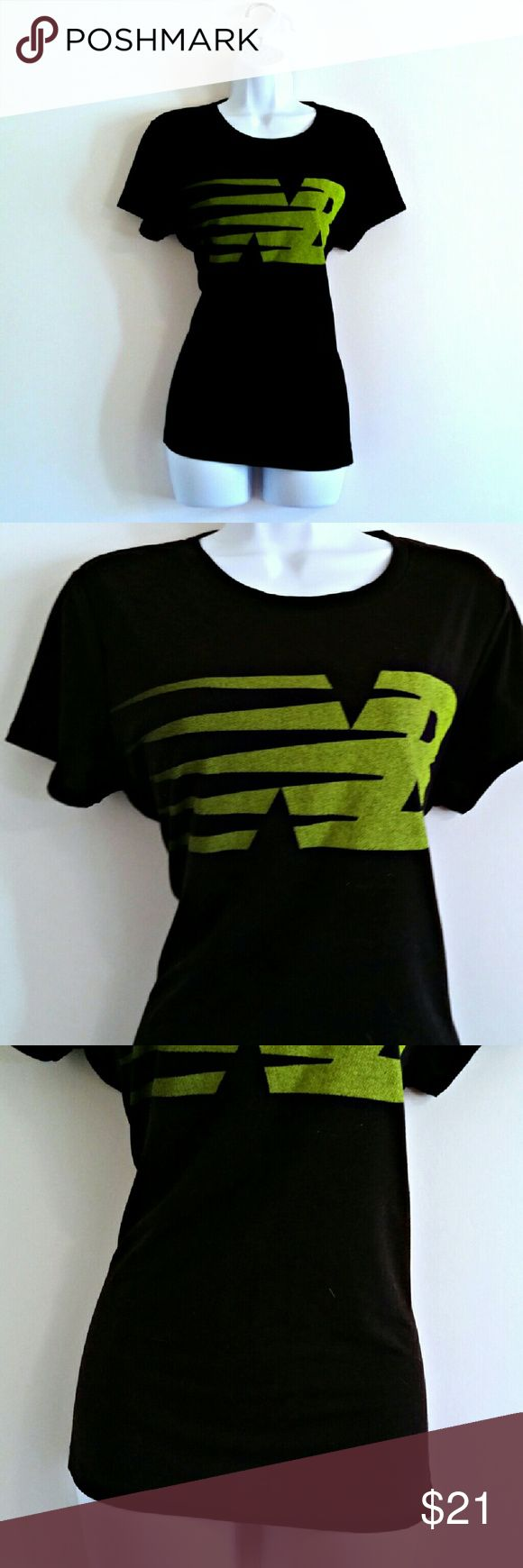 """New Balance Black and Lime Tee - Size L Perfect flattering active tee by New Balance. Trademark NB logo. Breathable and lightweight. In great condition. The perfect throw-on-and-go workout top!  Bust - 39"""" Waist - 38"""" Length - 26"""" Label - New Balance Size - L (PLEASE CHECK MEASUREMENTS)  Color may vary slightly.  #newbalance #nb #workouttop #workoutshirt #exercisetop #exerciseshirt #exercisetee #exerciseteeshirt #workouttee #workoutteeshirt #tshirt #exercisetshirt #activewear…"""