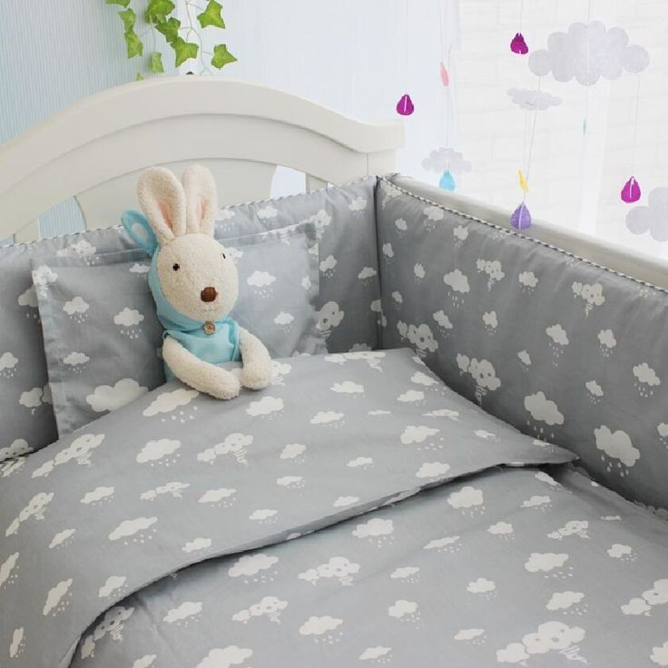 (34.85$)  Know more  - New Arrivel Clouds Newborn Baby Cot Bedding,Comfortable Baby Boy Crib Bedding Set,Baby Bed Liner Cot Bumper,Crib Mattress Quilt
