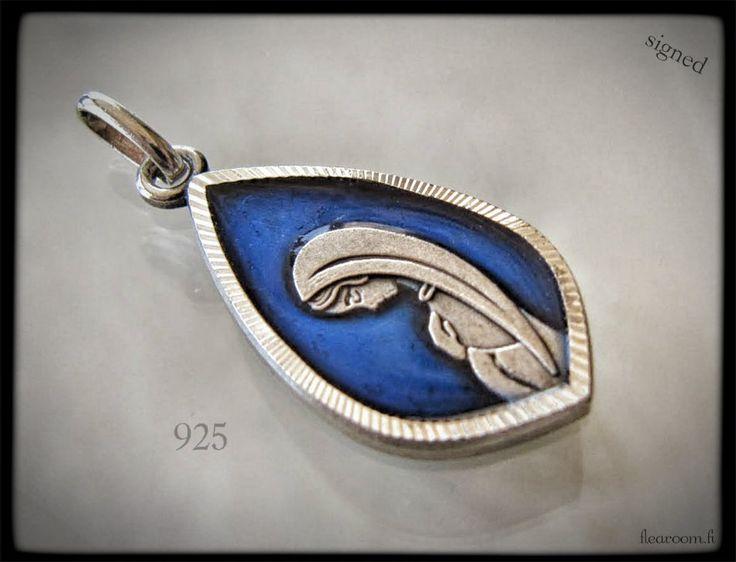 Vanha hopeariipus Neitsyt Maria - sinistä emalia