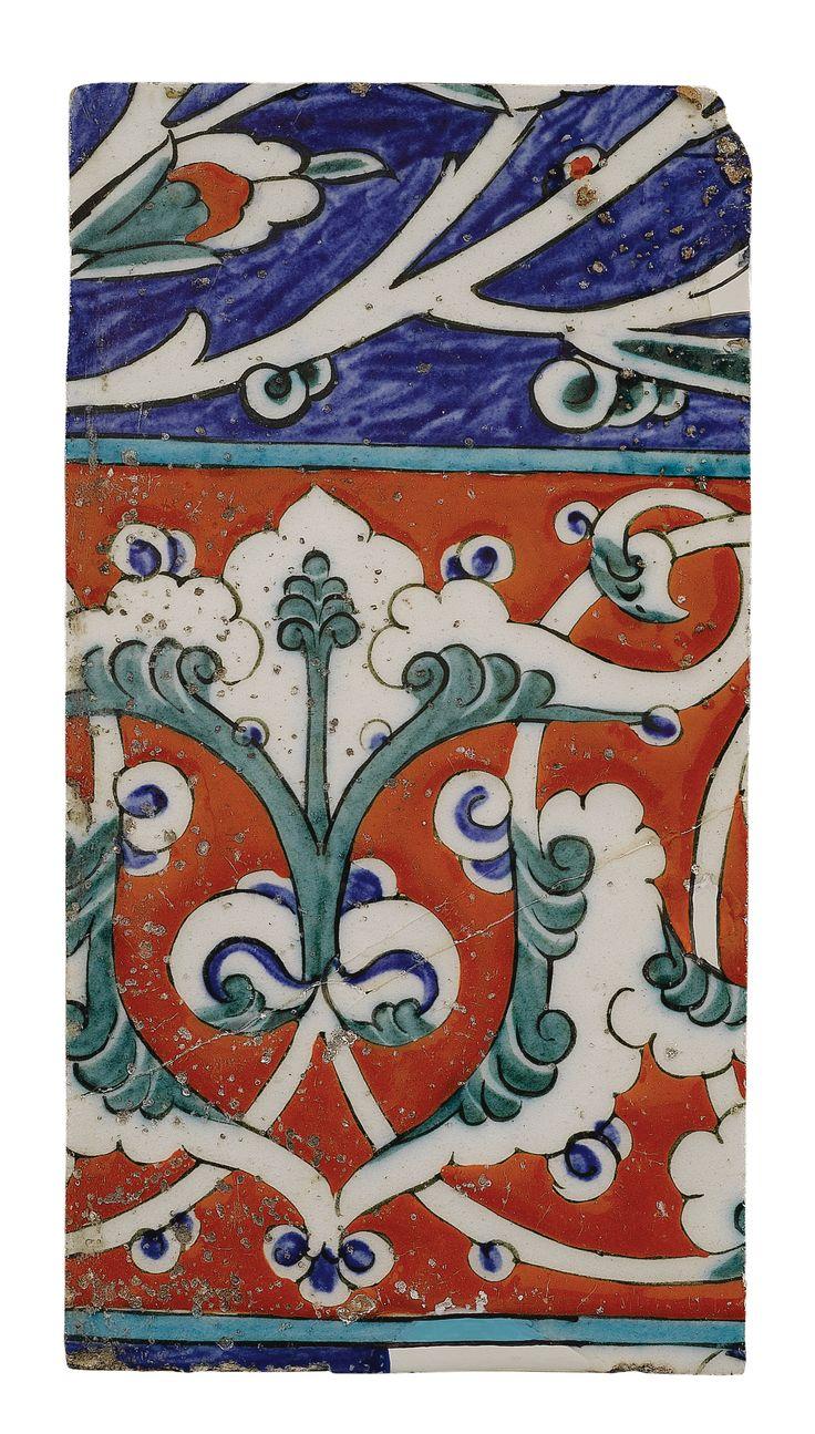 AN IZNIK POLYCHROME BORDER TILE, TURKEY, CIRCA 1580