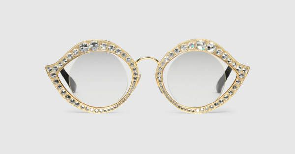 4a7b401d3f5 Gucci Cat eye metal glasses with crystals