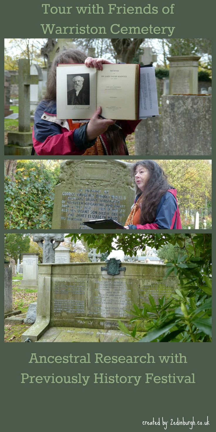 A tour with the Friends of Warriston Cemetery, Edinburgh during Previously...Scotland's History Festival in November 2013.  Caroline Gerard holds up a book about the life of Sir James David Marwick, and directs us to the Marwick family grave.  Ancestors whose businesses became Peat Marwick (now KPMG) and Simpson Marwick (solicitors in Edinburgh).  Also architects. #FamilyHistory #FamilyTree #Edinburgh #Ancestors