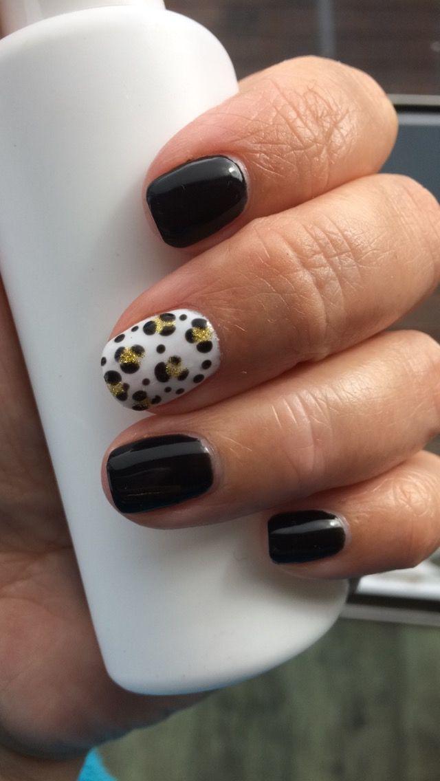 Black & gold leopard print gelish gel nails
