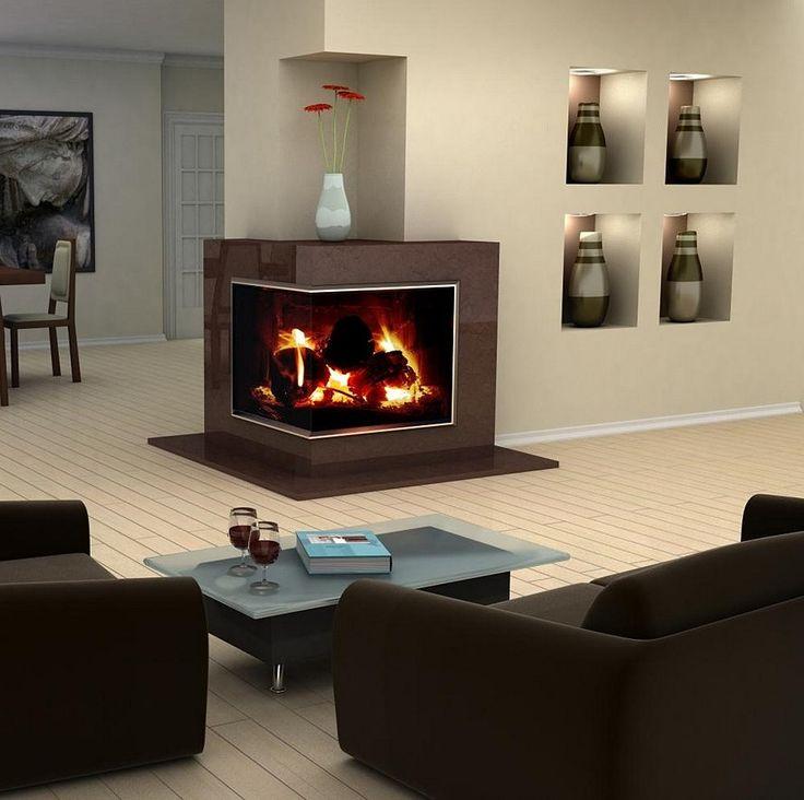 Accessories. Astounding corner fireplace ideas in stone, black sofas, small table. Modern corner fireplace ideas in stone pictures