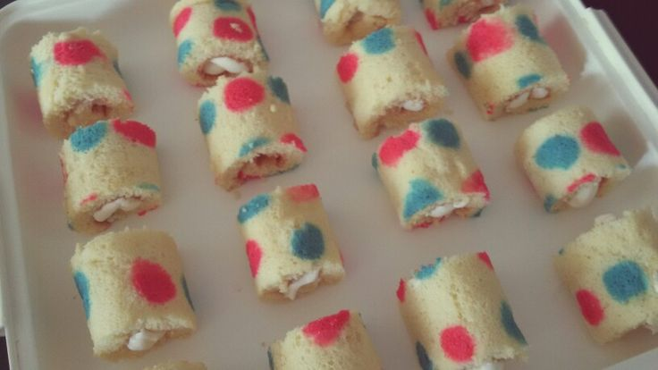 Mini polka dot swiss rolls