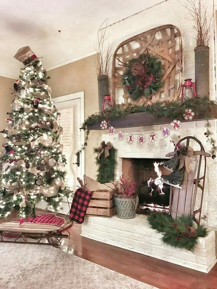 99 Inspiring Rustic Christmas Fireplace Ideas to