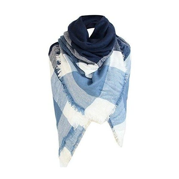 Winter Square Stripe Scarf Women Shawl Plaid Scarves Blanket Scarves... ❤ liked on Polyvore featuring accessories, scarves, tartan plaid shawl, square scarves, plaid shawl, plaid scarves and striped scarves