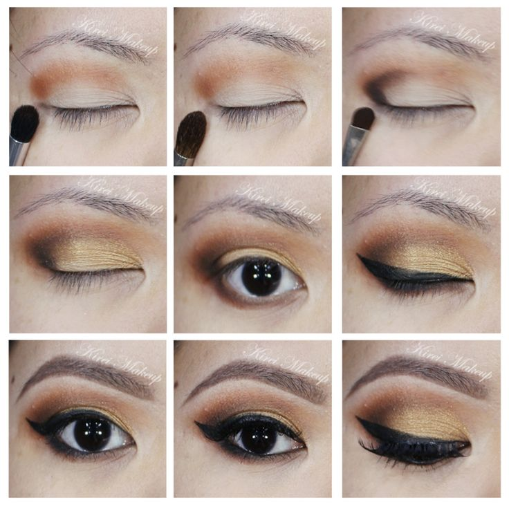 Warm brown and gold smoky eyes using Kat Von D Monarch palette