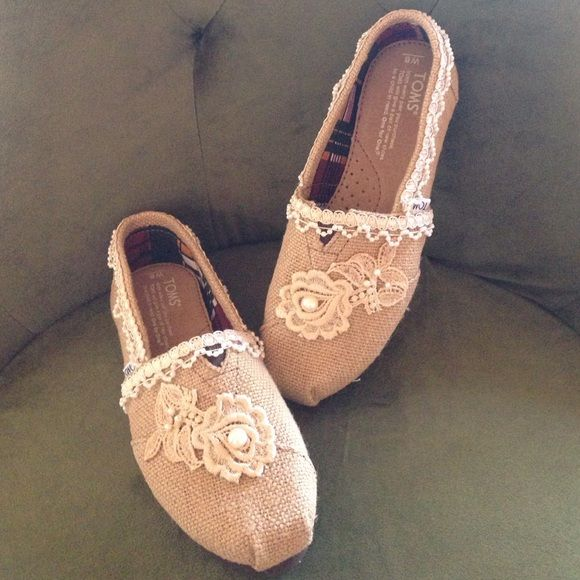 Embellished burlap toms! Handmade burlap toms embellished with tea dyed lace and pearls! BRAND NEW! TOMS Shoes Sneakers