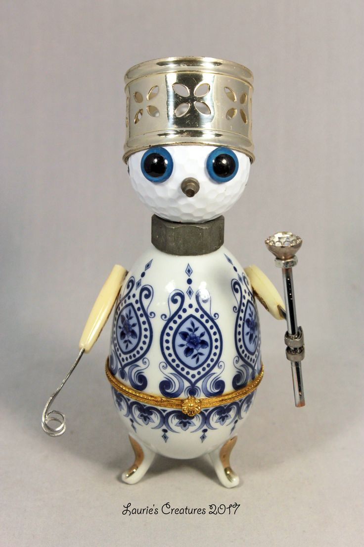 """King Eggbert"" ~ He opens at the waist to store small treasures. Found object art by Laurie Schnurer. If you're interested in purchasing one of my creatures please visit my sales page at https://www.facebook.com/LauriesCreatures."
