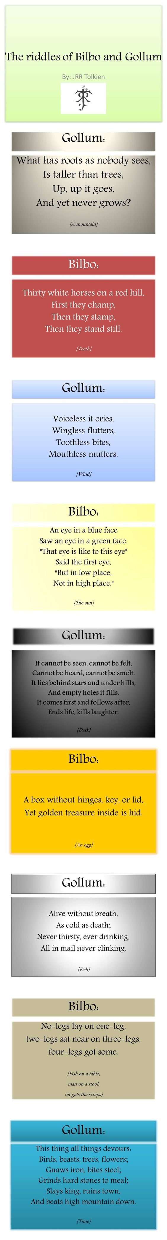 Riddles In the Dark Lord of the rings, The hobbit, Riddles