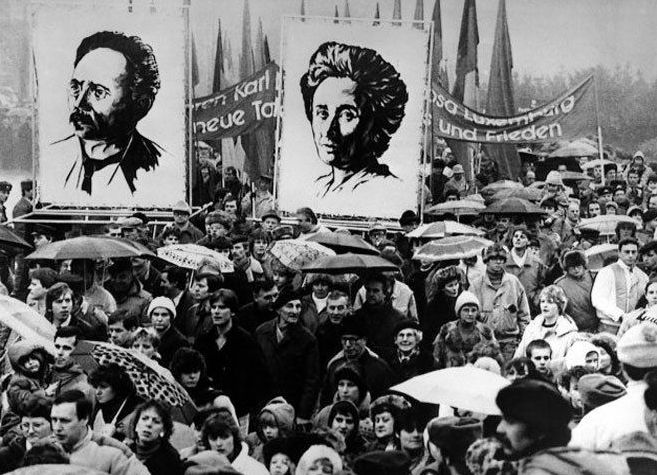 Uncredited Photographer     Funeral Demonstration Honoring Murdered German Radicals Karl Liebknecht and Rosa Luxemburg, Berlin, 1919  Liebknecht and Luxemburg were revolutionaries who had long been active on the German left.  In 1919, they leaders of the revolutionary Spartacist Uprising in Berlin, which was an attempt to establish a socialist society in the chaos of Germany following the World War I and the collapse of the Kaiser's kingdom.    Both Liebknecht and Luxemburg were kidnapped by…