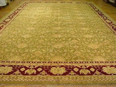 X Green Jaipur Traditional Handmade Rug Area Design Pattern Pile Wool Warp Weft Cotton Age New Woven Hand Knotted Condition Perfect Size