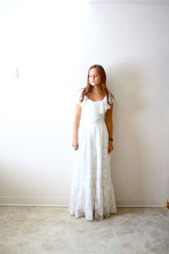Vintage Wedding dress shabby chic boho all lace floral A-line fit. $295.00, via Etsy.
