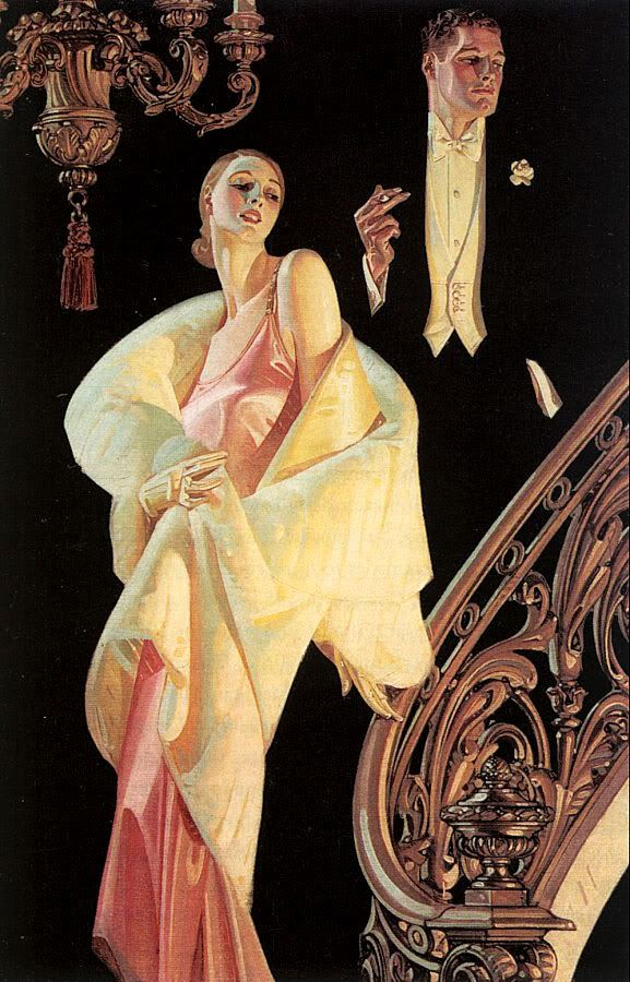 couple descending a staircase by J.C. Leyendecker, 1932, oil on canvas