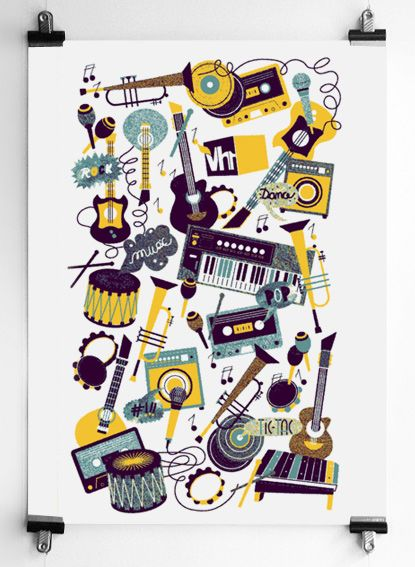 fun music poster -- illustration of maria luisa collazo