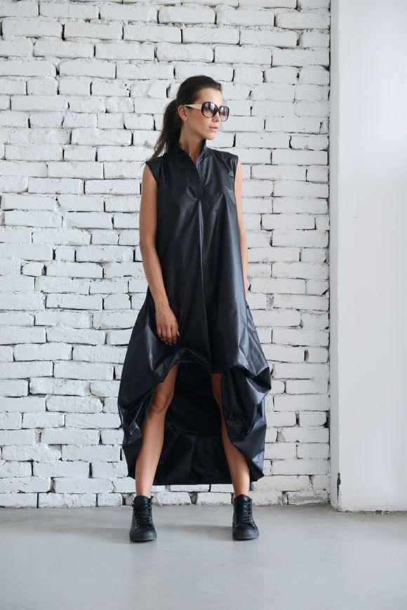 Maxi abito nero / nero Abito kaftano / Maxi tasca di Metamorphoza