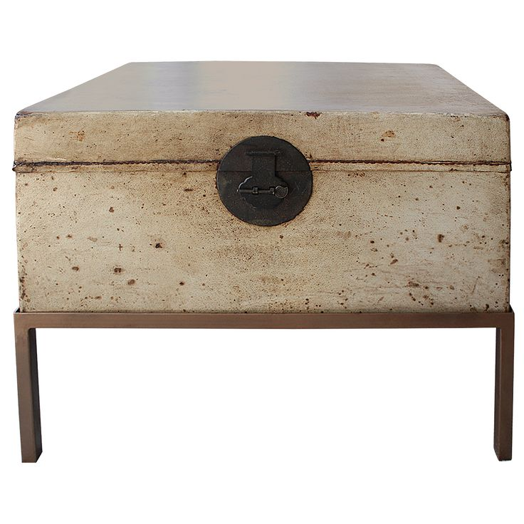 Asian Decorative Arts Chinese Pigskin Trunk On Stand Front
