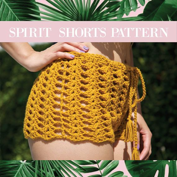 Crochet Pattern The SPIRIT SHORTS crochet pattern. You get an instant download (PDF). Made for Intermediate crocheters. The pattern is completely adjustable to ANY size. Easy to read pattern, with lots of pictures. Made with 100% acrylic yarn. We do not accept refunds/returns on patterns. If you have ANY questions, need clarification of steps, etc. wed be happy to help! Message us through Etsy or email amber.pangan@gmail.com YOU MAY sell the item made with this pattern, however pleas...